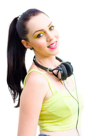 adult 80s: Studio Portrait Of A Happy Beautiful Retro Woman With Smile Standing Isolated Wearing 1980s Style Headphones In A Retro Rock Girl Conceptual, White Background Stock Photo
