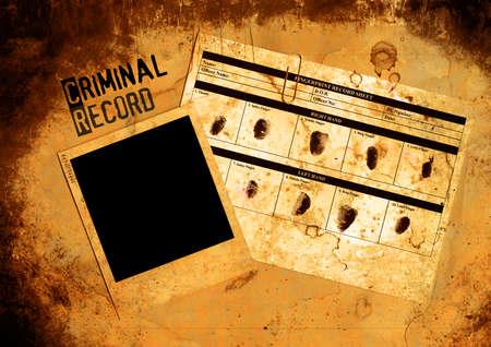 derecho penal: Sucio en blanco del archivo de antecedentes penales y de policía de fotos
