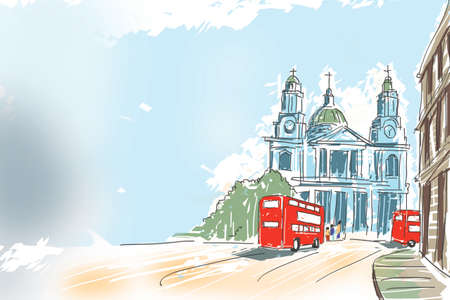 Creative digital illustration of British travel icon, The red double decker bus passing by St Paul Cathedral at the top of Ludgate Hill in London, UK with blue sky copyspace Stock Photo