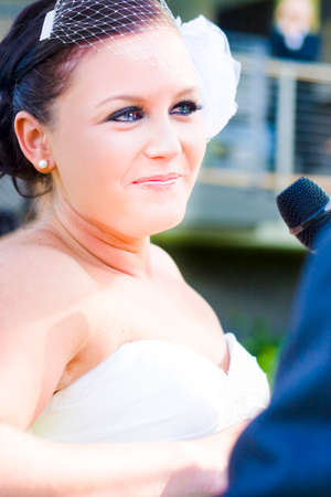 vows: Crying Emotional Bride Expresses True Love Through Tears Of Joy While Reading Out Her Vows During A Marriage Ceremony