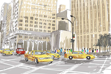 new york city times square: Hand drawn sketch depicting the hustle and bustle of downtown New York City metropolis with traffic, people and buildings.