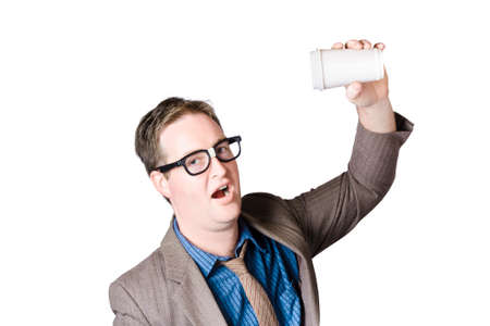 rushed: Geeky male staff member swigging a hot coffee beverage in super fast pace. Quick drink Stock Photo
