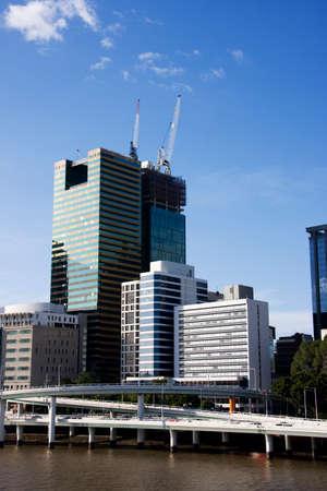 highrises: Brisbane City Skyline Viewed From Across The Brisbane River On The Victoria Bridge