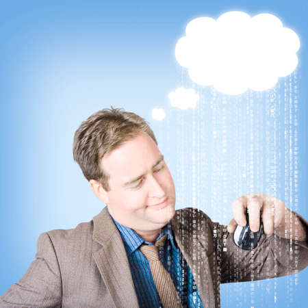 up code: Business man thinking up cloud computer copyspace with raining technology code. Coding Idea concept Stock Photo