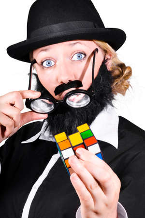 cube puzzle: Person With Fake Beard And Mustache Showing Cube Puzzle