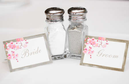 name: Bride And Groom Salt And Pepper Shakers With Name Place Cards On A Wedding Reception Table