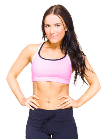 isolated woman: Half Body Portrait Of A Gym Fitness Instructor Standing Proud And Confidently With Hands On Hips In A Personal Fitness Training Health Lifestyle Concept, On White