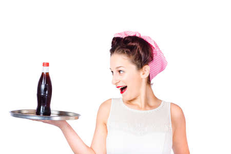 fifties: Isolated portrait of an excited fifties style waitress serving up a soda pop tray. Service industry