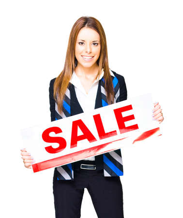 commercialism: Retail And Commercial Selling Concept With A Cute Sales And Marketing Woman Displaying Sale Sign, Isolated Studio Portrait On White Background