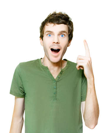 winning proposal: Studio Photo Of A Excited Untidy Man In Casual Clothes Pointing Up To Blank Copyspace With An Idea Of Genius And Inspiration, Isolated On White Background