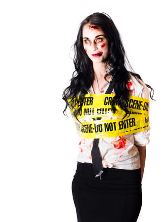 background csi: Zombie woman bleeding and injured at crime scene bound up with wide yellow tape isolated on white background