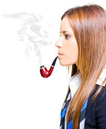 defile: Woman Smoking Pipe Representing Environmental Impact And Pollution Caused By Business Through Infrastructure Consumerism Excess Consumption And Mismanagement Stock Photo