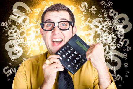 statistician: Efficient male bookkeeping accountant celebrating with a fist pump when giving a good return on tax