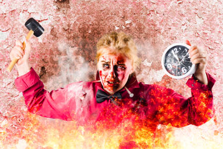 grisly: Possessed grunge girl burning in a blazing fire with smashed clock and hammer. Apocalypse now