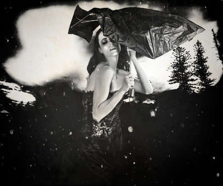 vintage design: Black And White Fashion Portrait Of A Classic Sensual Woman In Vintage Vogue Style