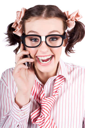 telephone saleswoman: Face Of A Thrilled Business Person Selling Contracts And Talking Transactions Through A Smart Phone In A Depiction Of Engaging Business Stock Photo