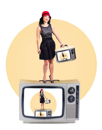 fame: Cute Asian woman enjoying fame on a retro television set