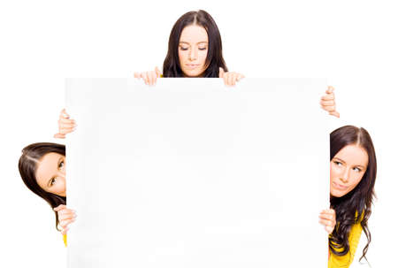 commercialism: Studio Image Of A Group Of Three People Displaying A Big Blank Billboard With Space For Add Info In A Merchandising Commerce And Sale Concept, On White