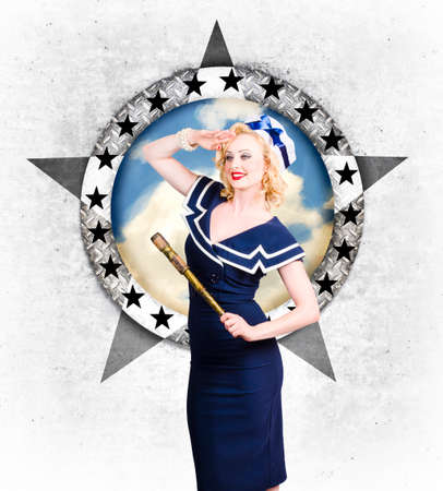 sailor girl: Pin-up sailor girl deckhand on nautical boat ocean tour. Holiday abroad