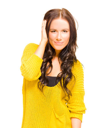 thrill: Beaming Young Woman With Long Brunette Hair Showing An Expression Of Thrill And Happiness Over A Brand New Haircut Or Hairstyle In A Fresh Hairdo Concept Stock Photo