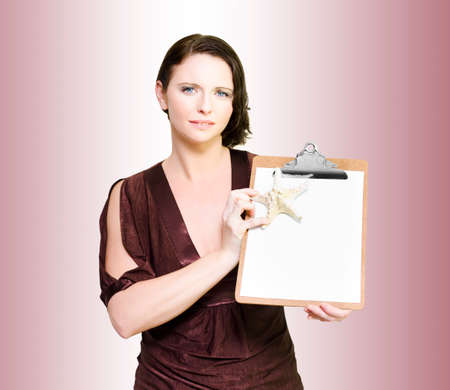 saleslady: Woman Advertising Resort Vacation Specials And Apartment Discounts On A Clipboard In A Beach Holiday Concept Gradiant Background