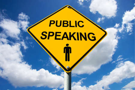 spokesman: Public Speaking Sign Against A Cloudy Background
