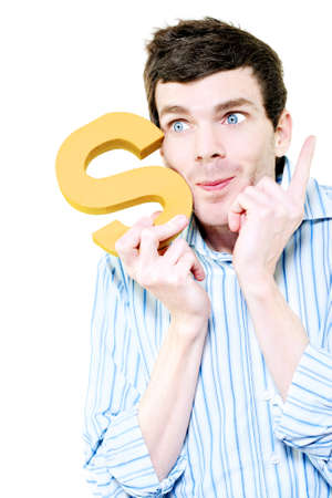 unravel: Isolated Businessman Pointing To The Sky With Success While Holding The Letter S For Solution On White Background