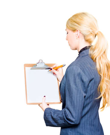unsatisfactory: Professional Corporation Executive Writes On A Blank Clipboard With Pen While Evaluating Examining And Developing A Growth Strategy In Develop Business Plan Stock Photo