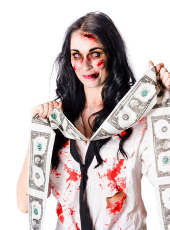 counterfeiting: Zombie woman with facial injuries, blood-stained dress and a stream of forged US dollar bills on white background