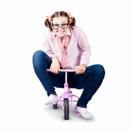 child's: Environment Friendly Business Woman Saving Fuel And Carbon Pollution When Riding A Bicycle To Work On White Background