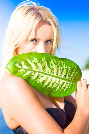 concealing: Young Attractive Blonde Female With Beautiful Blue Eyes With Arresting Expression Looks Over The Top Of A Green Leaf