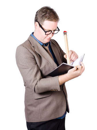 implementing: Obsessive businessman implementing a best practise marketing strategy with big list of detailed notes Stock Photo