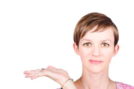 twenty something: White background portrait of a twenty something woman holding hand to display isolated product