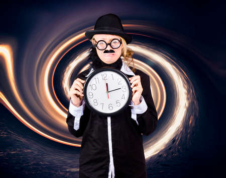 tearful: Astronomy scientist holding frozen clock when getting sucked into a black hole. Out of time conceptual