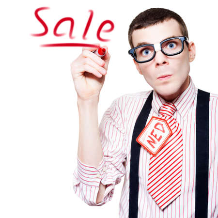 unfashionable: Isolated Funny Nerd Advertising A Store Sale With Red Marker In A Depiction Of Marketing