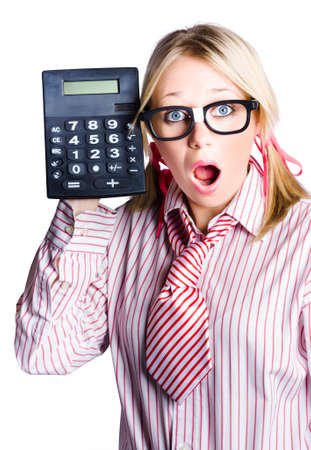 appalled: Open mouth young woman with large calculator, business concept with white studio background