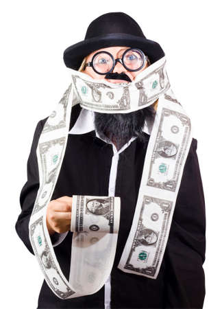 misconduct: Political person gagged and bound with a roll of forged money. Crime and misconduct cover up Stock Photo