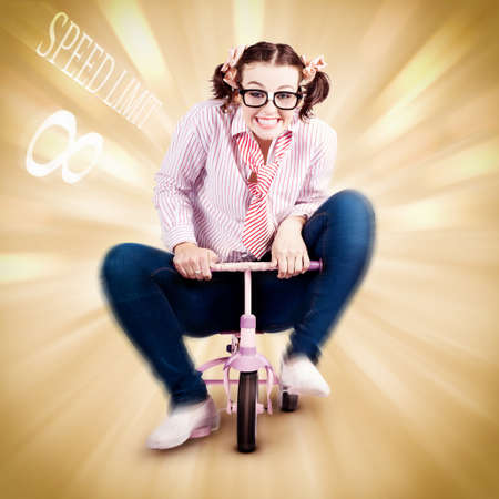 dweeb: Smart Science Woman Breaking The Speed Of Sound While Riding A Childrens Bike In A Funny Depiction Outsmarting Physics
