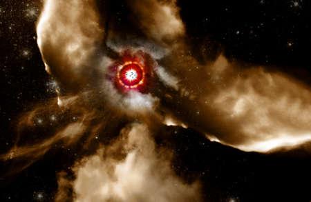 schöpfung: Kreative Raumbild der Vögel vor einer explosiven Supernova fliegen. In einer depication der Schöpfung aus dem Tod von alten Sternen