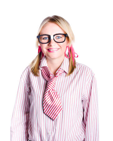 geeky: Adorable nerdy or geeky young business person with plaster on spectacles, white background Stock Photo