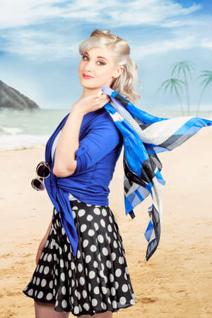 retro illustration: Young pretty woman on a tropical beach vacation dressed in retro style. Illustration photograph composite background Stock Photo