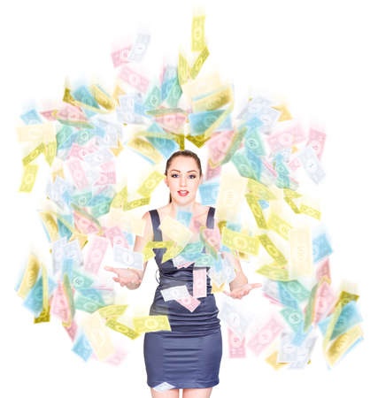 financial reward: Happy Joyful Business Woman Throwing Handfuls Of Cash Into The Air In A Moving Money Celebration Of Victory Reward And Financial Success, Isolated On White