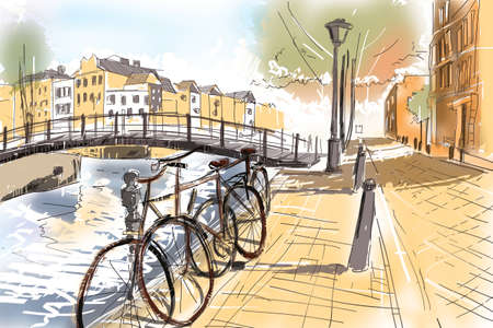 bicycles: Digital watercolour landscape painting of the streets of Amsterdam with old iconic Netherlands bicycles lined up next to a canal and bridge. Travel fine art