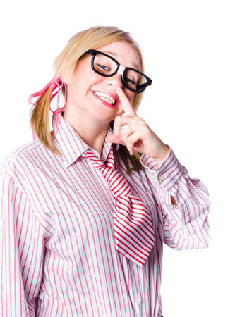 snotty: Attractive blond woman in shirt and tie both with pink stripes pointing with a finger to her nose  indicating  put your bet on the nose to win
