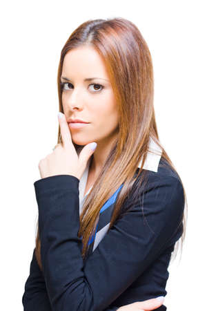 Face Of An Attractive And Smart Female Business Person Thinking With Hand To Head In A Depiction Of Inspiration Ideas Thoughts And Business Solutions On White Stock Photo