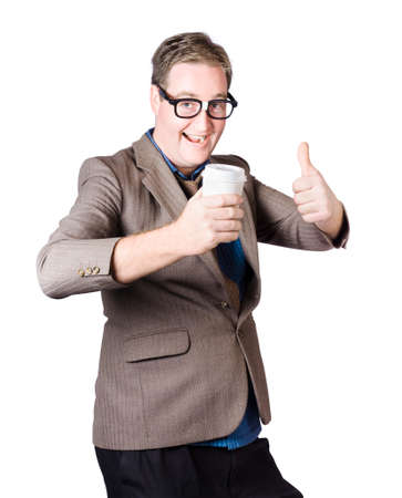 exhilarated: Beverage man with thumb up, expressing positivity over a great drink. Good coffee