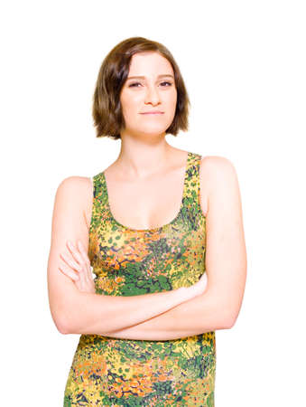 folding arms: Relaxed Woman Wearing Colorful Floral Dress Folding Arms With A Look Of Hope In Her Expression And A Spring In Her Step, Isolate Studio Photo Over White Background