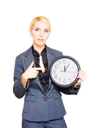 tardiness: Unhappy Disgruntled Business Manager Or Supervisor Holding And Pointing To A Clock In A Late Delay And Tardiness Concept Of Poor Time Management, Isolated Image