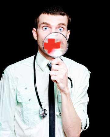silenced: Silent Doctor Showing Insight Into Shocking Health Care Practices While Holding A Looking Glass Over Medical Cross Plastered Across Face