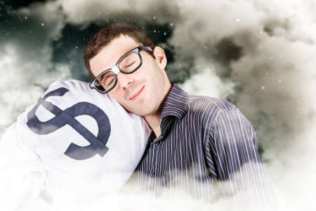 investment security: Funny finance portrait of a business person sleeping on a money bag in a cloudy haze of stars and sky. Investment security Stock Photo